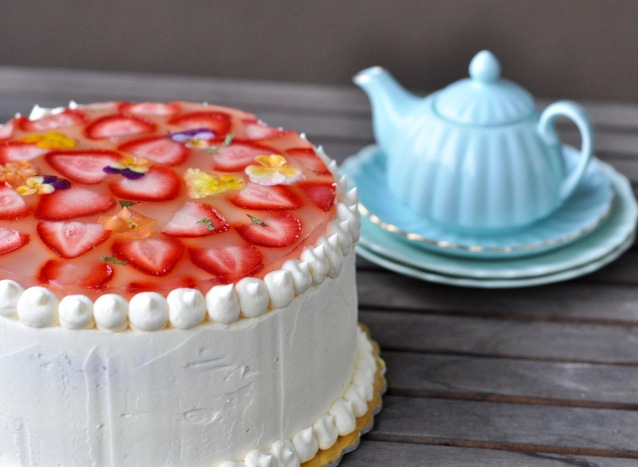 Strawberry & Vanilla Birthday Cake